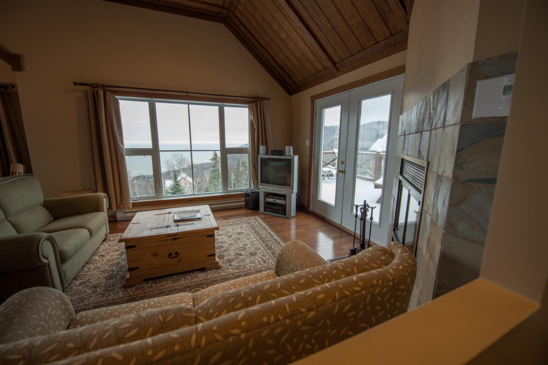 livingroom rental le cottage massif charlevoix lestran the view units bedroom l both on estran ski en rentals cottages chalets