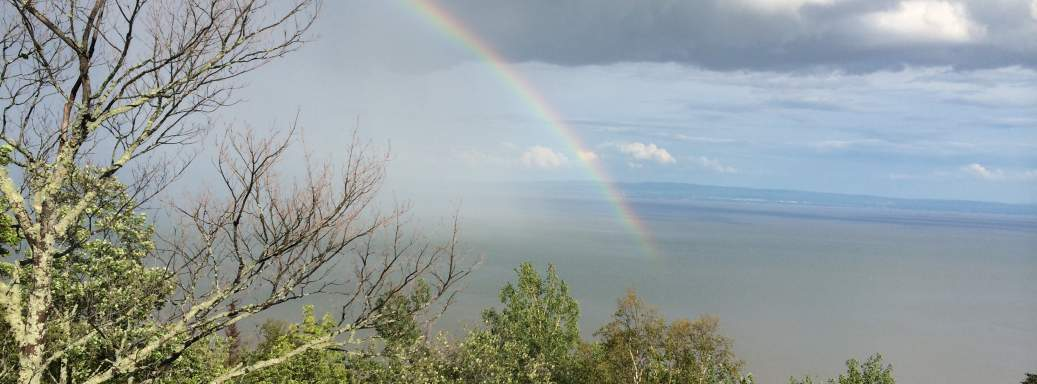 From the terrasse of the Ilaali Chalet at Petite Riviere St-Francois. Where is the pot of gold?