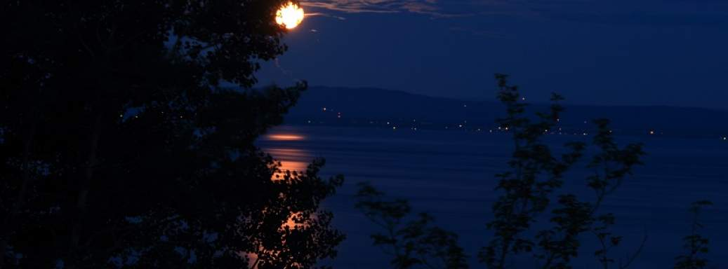 Moon close to Massif of Charlevoix