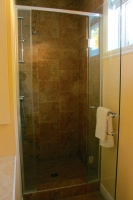 Bathroom with shower at garden level
